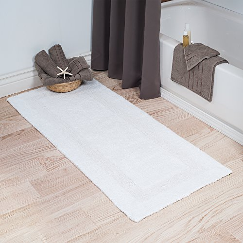 513hf4S521L - Lavish Home Cotton Bath Mat- Plush 100 Percent Cotton 24x60 Long Bathroom Runner- Reversible, Soft, Absorbent, and Machine Washable Rug by (White)