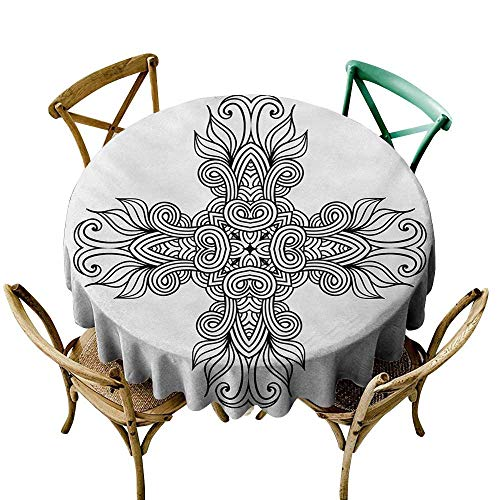 Wendell Joshua Yellow Tablecloth 60 inch Celtic,Royal Old Celtic Knot Pattern with Curled Lace Leaf Figures Renaissance Times Art,Black White Suitable for Indoor Outdoor Round Tables