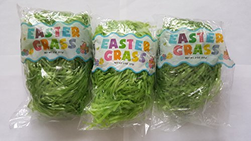 3 Pack of Green Reusable Shredded Plastic Easter Basket Grass Bags Bundle 255g Total Party Accessory Lot