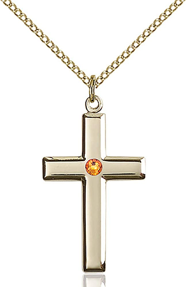 Gold Filled Lite Curb Chain 1 1//8 x 5//8 14kt Gold Filled Cross Pendant with 3mm Topaz bead