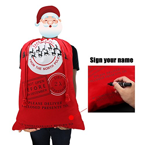 "Christmas Bag Santa Sack Canvas Bag For Gifts Santa Sack Special Delivery Extra Large Size 27.6""x19.7"" (Red Pattern 8)"