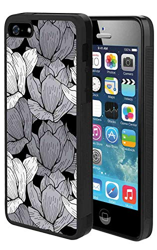 (Case Cover iPhone 5 (2012) iPhone 5S (2013) iPhone SE (2016) [5.5-Inch] Black and Grey Floral Arrangement Asian Lotus Traditional Oriental Nature Motifs Black Grey White Trendy Slim Case)