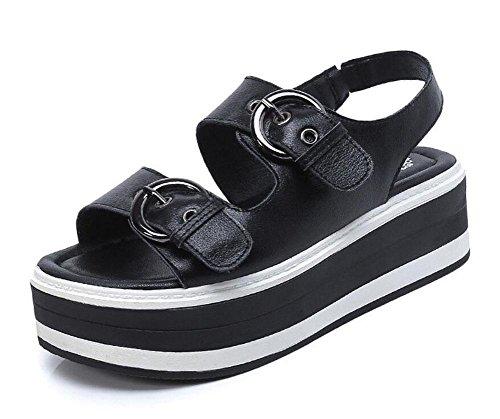 Shoes Mujeres Prueba De Plataforma Toe De Nueva Plano Sandalias Grueso Sandalias 2017 Agua Femeninas Estudiantes Bottom Abiertas A Cinturón Cuero black GLTER Verano Hebilla FdfRwqw