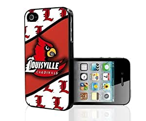 Louisville Cardinals Red and White Sports Football Team Hard Cell Phone Case Cover iPhone (4 4s)