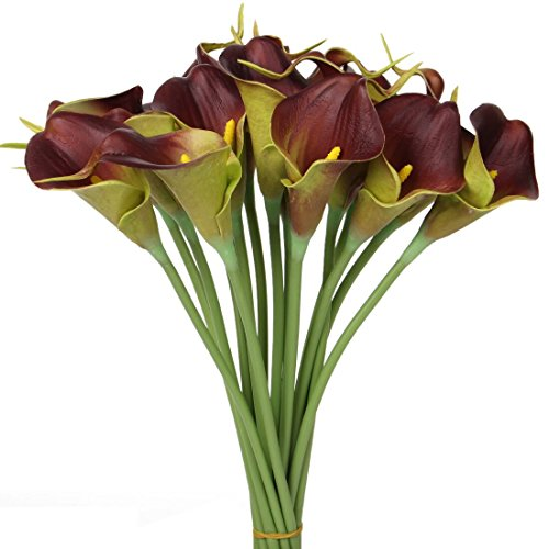 Luyue Calla Lily Bridal Wedding Bouquet Head Lataex Real Touch Flower Bouquets Pack of 20 (Brown)