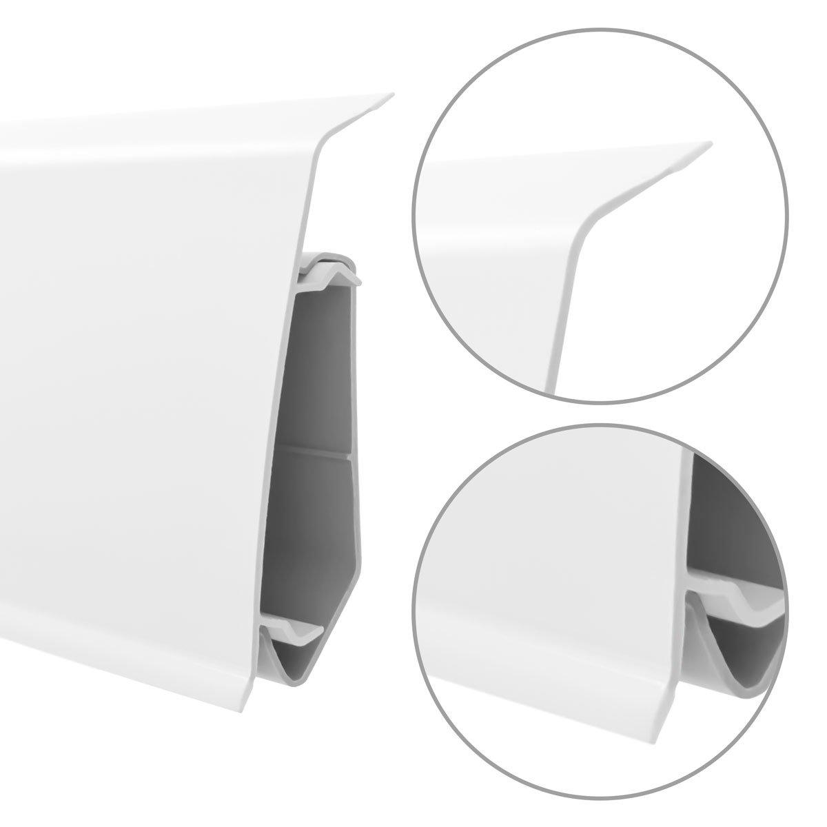 HOLZBRINK 200cm Sockelleiste Fussleiste 70mm x 20,7mm aus Kunststoff VEO 011 CHILLOUT EICHE