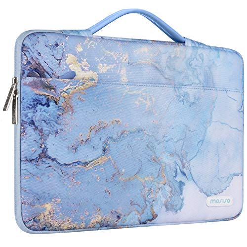 MOSISO Laptop Sleeve 360 Protective Case Bag Compatible with 13-13.3 inch MacBook Pro, MacBook Air, Notebook with Trolley Belt, Polyester Shockproof Carrying Case Handbag, Water Blue Marble