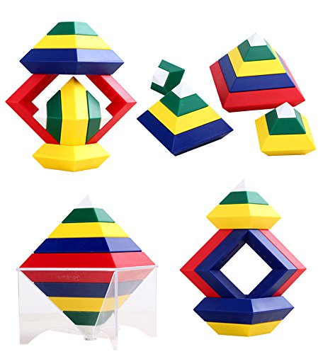 Agirlgle Building Blocks Toys Set for Kids and Adults Game 3D Puzzle Brain Teasers Pyramid Speed Cube, Creative Educational Toys Kits for Kids Preschool Learning Toys Stacking Block Sets ()