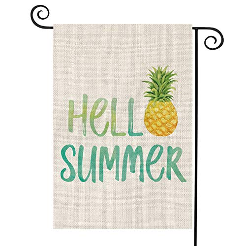 AVOIN Hello Summer Pineapple Watercolor Garden Flag Vertical Double Sided, Seasonal Rustic Hawaiian Burlap Yard Outdoor Decoration 12.5 x 18 Inch