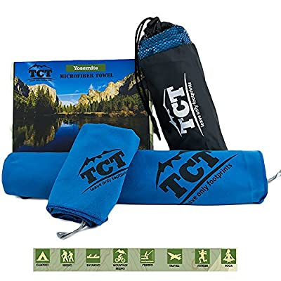 Camping & Outdoor Towel Set - 2 Quick Drying Microfiber Towels, super absorbent, anti bacterial and lightweight. Pack into a handy stuff sack so you can fit them anywhere.