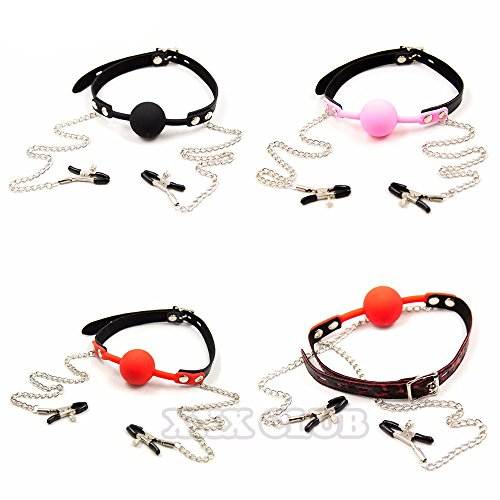 Silicone Ball Gag Mouth Plug Bondage Slave with Metal Nipple Clamps,Fetish Oral Sex Products Toys for Women Adult Games Pink Ball by Nipple Clamps