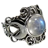Sterling Silver Large Moonstone Victorian Triple Moon Goddess Ring Size 13