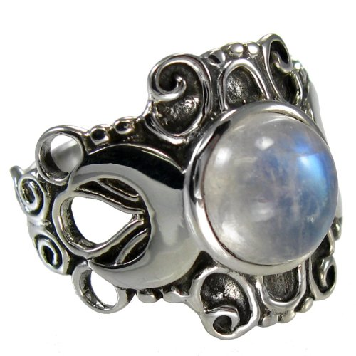 Sterling Silver Large Moonstone Victorian Triple Moon Goddess Ring Size 5