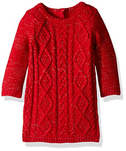 Crazy 8 Toddler Girls' Cable Knit Sweater Dress, Red Bow, 12-18 (Toddler Girls Red Sweater)