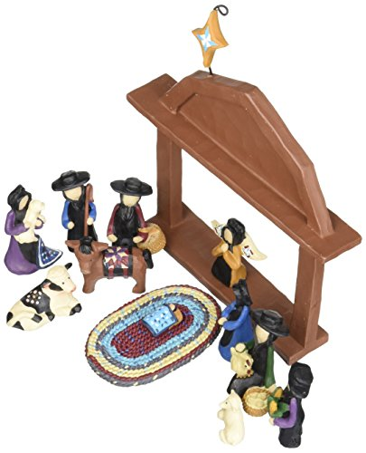 Blossom Bucket Amish Nativity Christmas Decor Set of 13 , 6-1 2 by 7-1 2