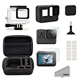 Kupton Accessories for GoPro Hero 6/5 Black Starter Kit Travel Case Small + Housing Case + Screen Protector + Lens Cover + Silicone Protective Case for Go Pro Hero 6/5 Outdoor Sport Kit