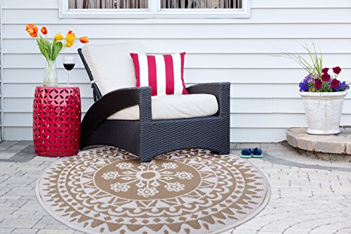 Garden and Outdoor DII Outdoor Rugs Collection Reversible Woven, 5′ Round, Taupe Floral outdoor rugs