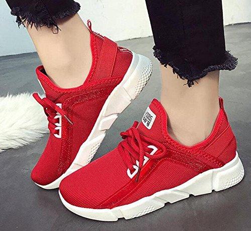 KUKI Frauen Sport flachem Mund flache Schuhe Netz atmungsaktive Freizeitschuhe red