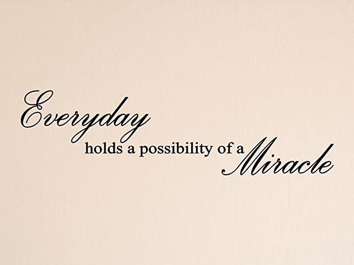 "Vinylsay ""Everyday holds a possibility of a miracle"" Wall Decal, 33"" x 9"", Matte Black"