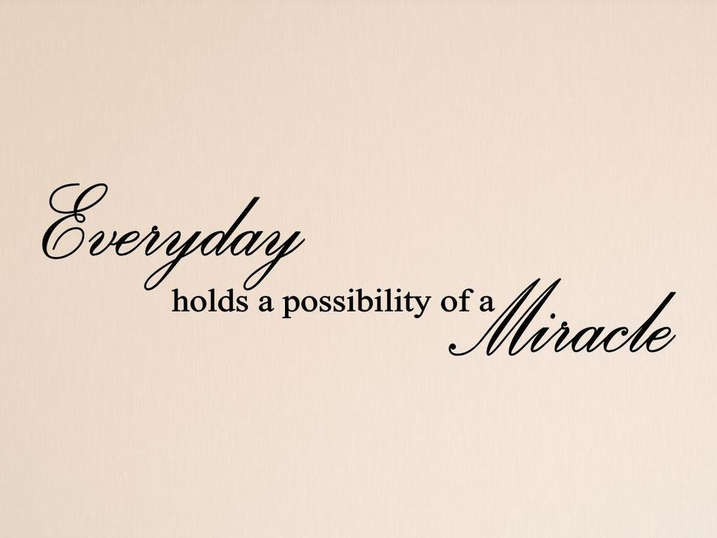 Vinylsay Everyday holds a possibility of a miracle Wall Decal, 66'' x 18'', Gloss Black