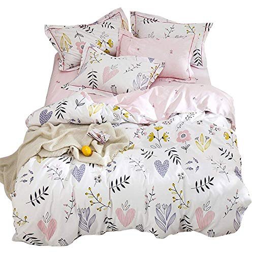 Girls Duvet Cover Set Flower Heart Reversible Quilt Cover Set for Kids 100% Cotton Bedding with Zipper Closure (3pcs, Queen Size) Pink ...