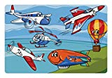 Lunarable Kids Pet Mat for Food and Water, Aeroplane Cartoons Toy Planes Jets Helicopter and Hot Air Balloon Aircraft Ship Sail, Rectangle Non-Slip Rubber Mat for Dogs and Cats, Multicolor