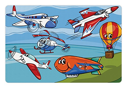 Lunarable Kids Pet Mat for Food and Water, Aeroplane Cartoons Toy Planes Jets Helicopter and Hot Air Balloon Aircraft Ship Sail, Rectangle Non-Slip Rubber Mat for Dogs and Cats, Multicolor by Lunarable