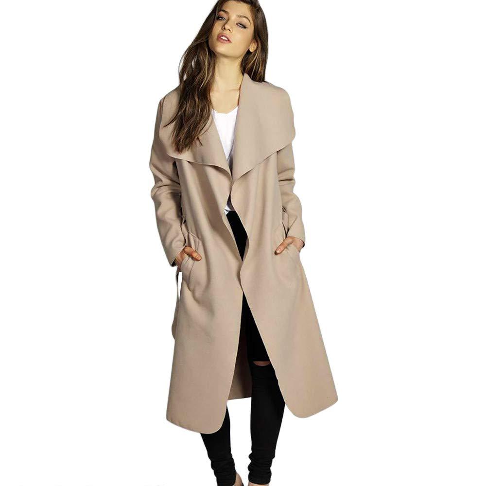 HHei_K Womens Fashion Loose Wide Lapel Collar Long Sleeve Belt Pocket Casual Long Wool Coat Outwear