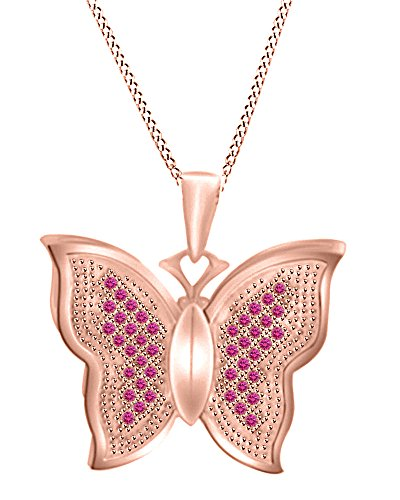 Jewel Zone US 0.21 Ct Round Cut Simulated Pink Sapphire Butterfly Pendant Necklace In 10K Solid Rose (Butterfly Pink Sapphire Pendant)