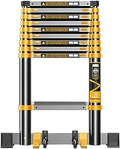 LJSJT Escalera Telescópica Escalera de ingeniería Polea móvil Escalera de 9 peldaños Adecuado para Techo, Interior, almacén. Teniendo Peso 150 kg Altura de Estiramiento 3.5m: Amazon.es: Hogar