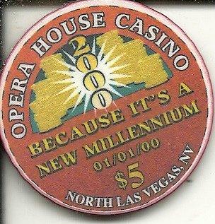 $5 opera house y2win las vegas casino chip super rare new millennium