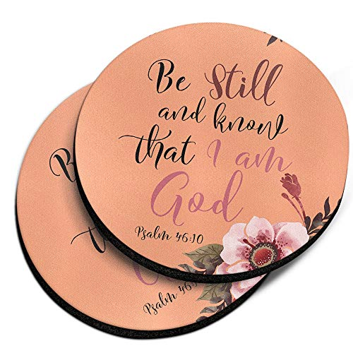 (CARIBOU Coasters, Christian Quotes Psalm 46:10 Design Absorbent ROUND Fabric Felt Neoprene Car Coasters for Drinks, 2pcs Set)