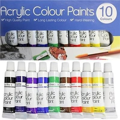 10X 6ml ACRYLIC COLOUR PAINTS ARTIST ART AND CRAFT PAINT SET Guilty Gadgets
