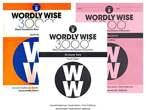 Wordly Wise 3000 Fourth Edition Student Edition + Test Booklet + Answer Key Set Grade 8 - 4th Grade Set