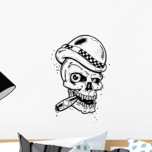 Wallmonkeys Punk Tattoo Style Skull with Wings Smoking a Cigar Wall Decal Peel and Stick Graphic WM331567 (18 in H x 12 in - Skull Tattoo Wing