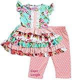 Little Girls Spring Summer Floral Tiered Coral Mint Polka Dots Capri Set 5/L