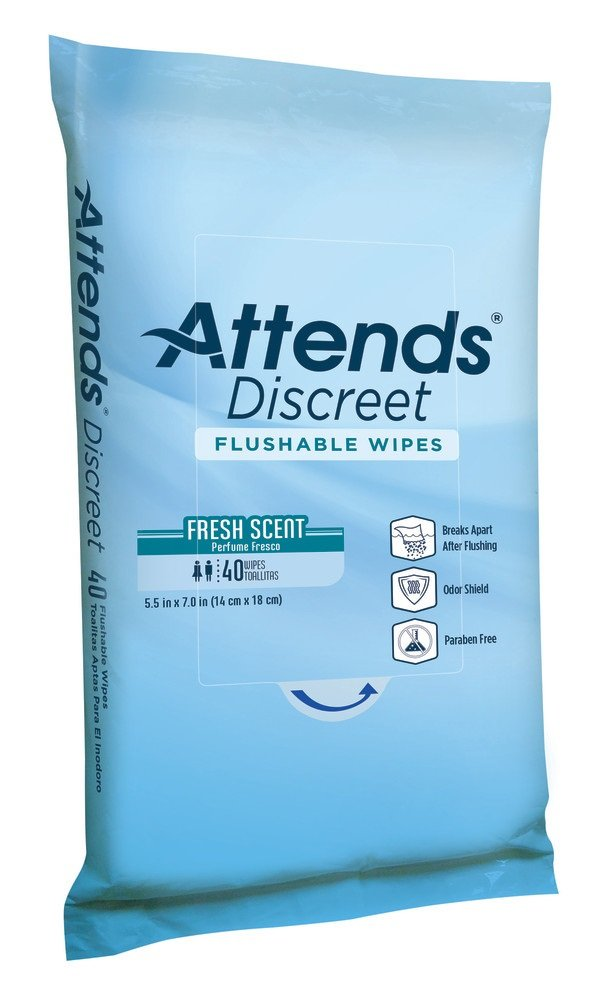 Attends Discreet Incontinence Care Flushable Wipes ,  960 Count by Attends (Image #1)