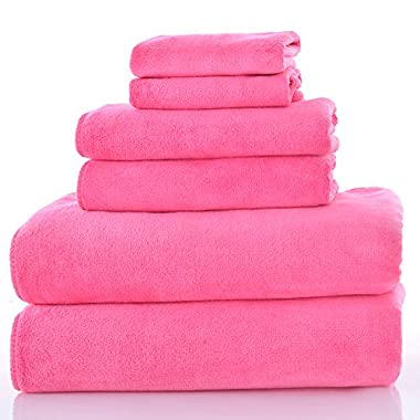 Aojie 6-Piece Microfiber Towel Set - Extra Absorbent, Quick Drying &Multi-Purpose Towel (Pink)