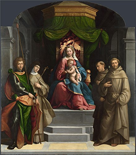 Oil painting ` Garofalo The Madonna and Child Enthroned with Saints `印刷on Perfect effectキャンバス、30x 34インチ/ 76x 87cm、最高の寝室ギャラリーアートとホームデコレーションとギフトはキャンバスにこのレプリカアートDecorativePrintsの商品画像