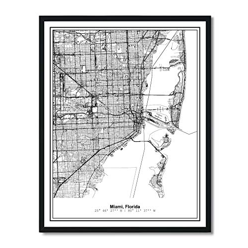 Susie Arts 11X14 Unframed Miami Florida Metropolitan City View Abstract Street Map Art Print Poster Wall Decor V276