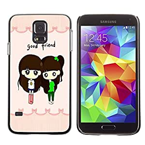 - Cartoon Girl Cute - - Monedero pared Design Premium cuero del tir¨®n magn¨¦tico delgado del caso de la cubierta pata de ca FOR Samsung Galaxy S5 I9600 G9009 G9008V Funny House