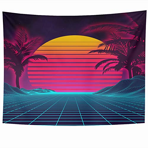 Sci Fi Landscape - AlliuCoo Wall Tapestries 80 x 60 Inches Blue Computer Retro Futuristic Landscape 1980S Style Digital Cyber 80S Party Sci Fi Summer Purple 1990S Home Decor Wall Hanging Tapestry Living Room Dorm