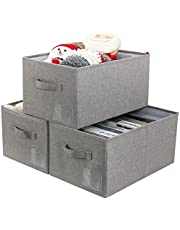 AMJ [Set of 3] Folding Open Home Storage Bins, Collapsible Water Resistant Basket Box Organizer for Shelves, Closet, and More (Dark Gray)