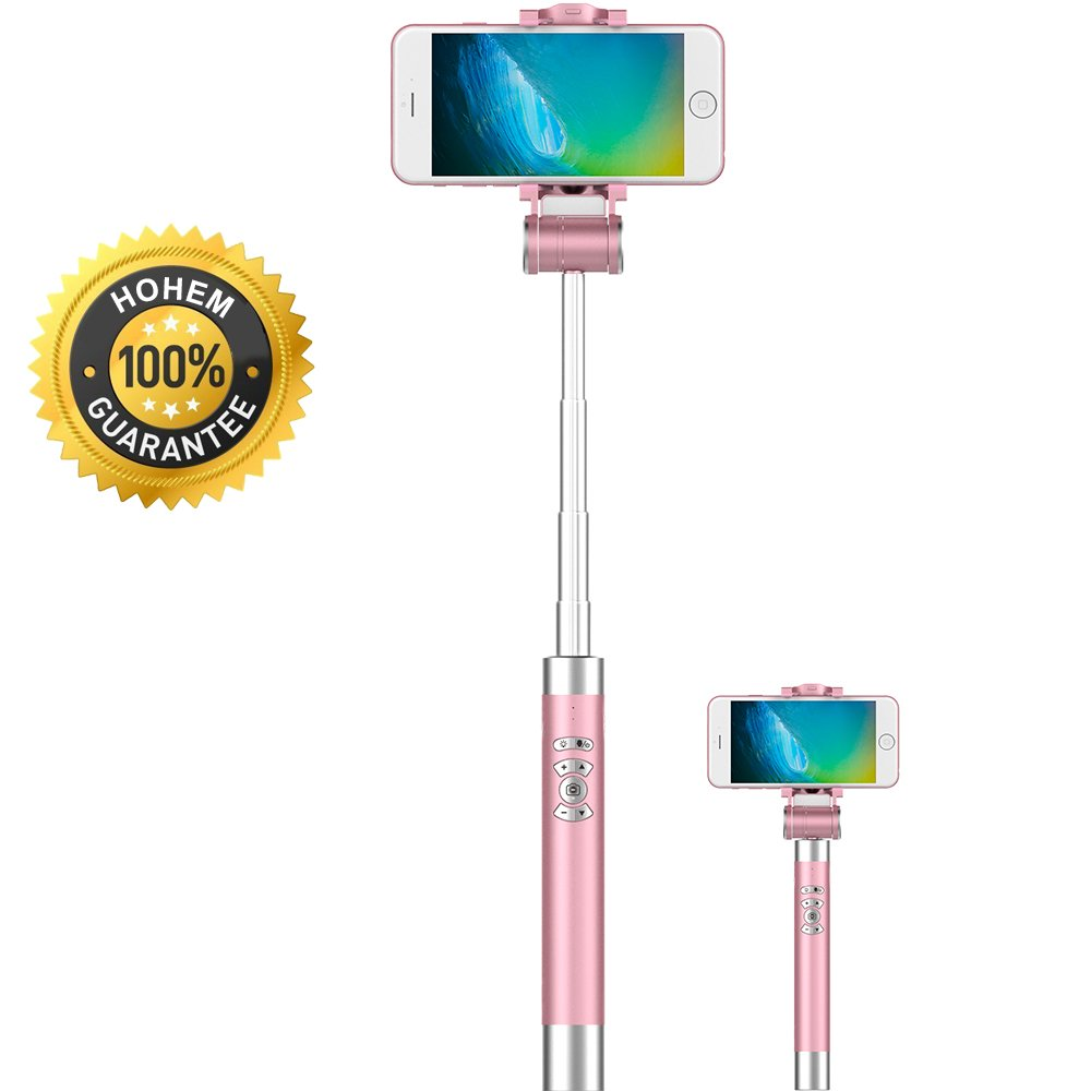 Hohem Auto Tracking Selfie Stick for iPhone7/7plus/6/6S/6+/6s+ 5S/SE,Samsung Galaxy and More Android Smartphones (Pink)