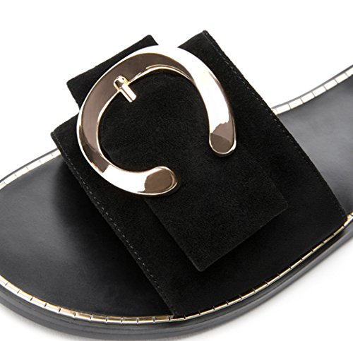 Sandali da donna alti basso piatti DHG a casual estivi Nero moda con basso Sandali Sandali tacco Tacchi alla tacco Pantofole 36 fqBABtw0
