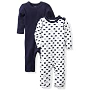 Moon and Back Baby Set of 2 Organic Long-Sleeve Snap-Shoulder Coveralls, Navy Sea, 3-6 Months