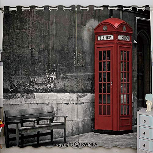 (Justin Harve window Famous British Phone Boot in London Streets Important Icon of Town Urban Life Photo Decorative Bedroom Living Room Curtain Set of 2 Panels(100