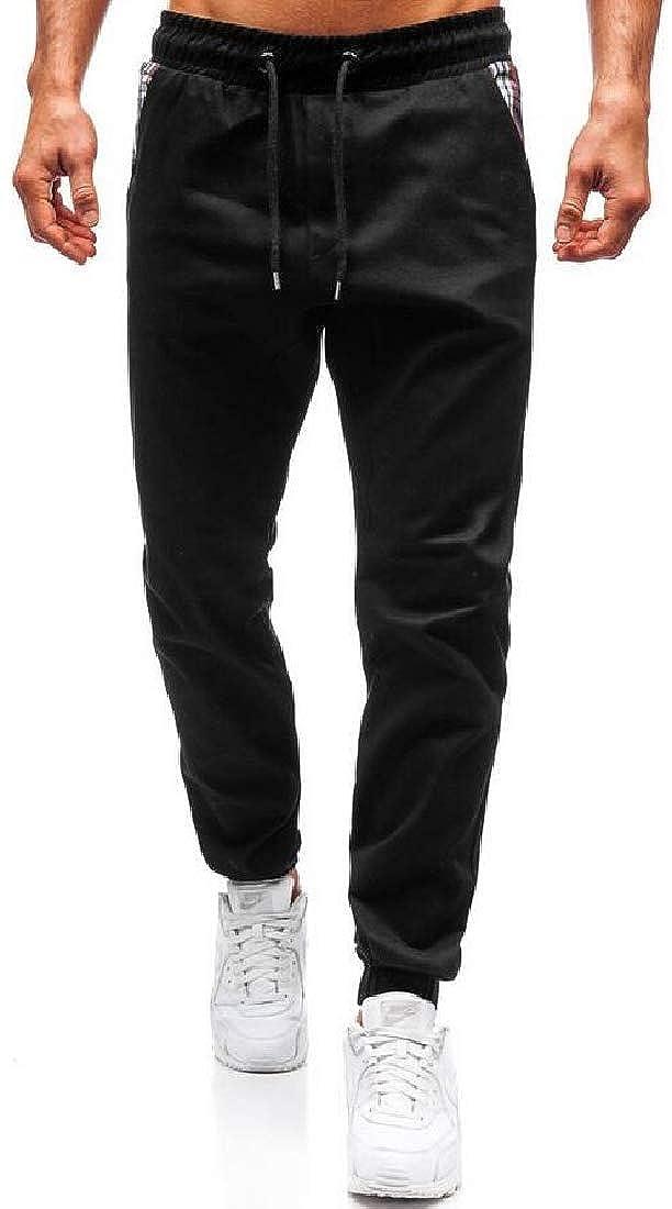 SELX Men Regular Fit Plaid Patchwork Casual Drawstring Jogging Pants