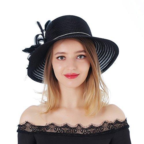 - Dantiya Women's Kentucky Derby Bowler Church Cloche Hat Bling Bing Organza Bridal Dress Cap (Black, One Size)