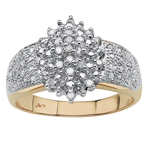 Round White Diamond 10k Yellow Gold Marquise Cluster Ring (.25 cttw, HI Color, I3 Clarity) (Yellow Gold Ring Cluster Diamond)